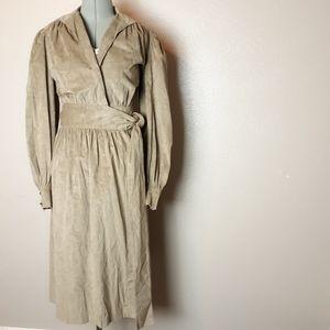 Vintage 70s faux suede long wrap duster jacket